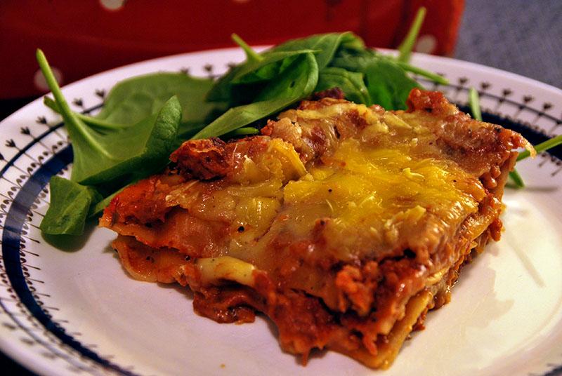 Vegansk lasagne.